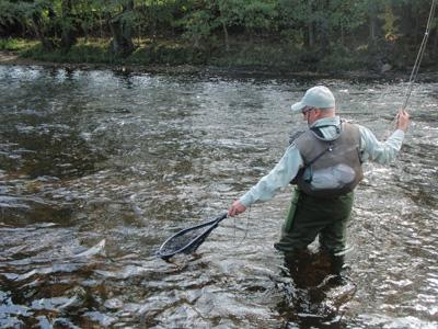 Neil fishing the Otava - an incredible river with enormous trout and grayling populations