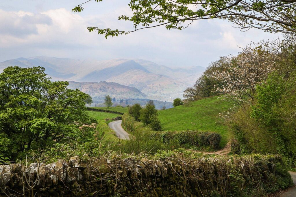 The view at High Wray near Hawkshead looking towards the Eastern Fells.